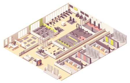 Vektor-isometrischer Fitnessclub oder Fitnessstudio-Innenraum Vektorgrafik