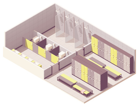 Vector isometric school or gym locker room cross-section. Lockers, benches, shower cabins and toilets