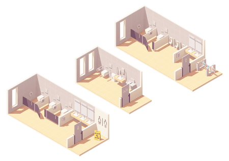 Vector isometric public pay toilet male, female facilities, accessible toilet with baby changing station Vectores