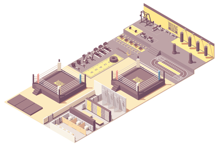 Vector isometric boxing gym or fitness club interior cross-section with fitness and boxing equipment. Dumbbells, barbell and weight bench, battle ropes, wheel, punching bags and boxing ring, locker room Illustration