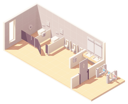 Vector isometric public male toilet room with coin operated turnstile. Bowls in cubicles, urinals, sinks with mirrors and hand dryer Illustration