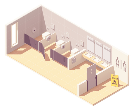 Vector isometric public female toilet room. Bowls in cubicles, sinks with mirrors and hand dryer Illustration