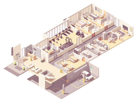 Vector isometric hotel interior  イラスト・ベクター素材