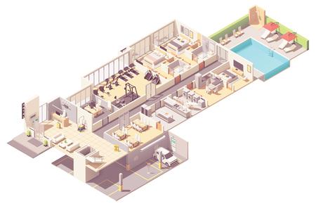 Vektorisometrischer Hotelinnenquerschnitt. Hotelzimmer und Suite, Rezeption, Fitnessraum, Frühstücksraum, Küche, Waschküche, Parkgarage und Außenpool