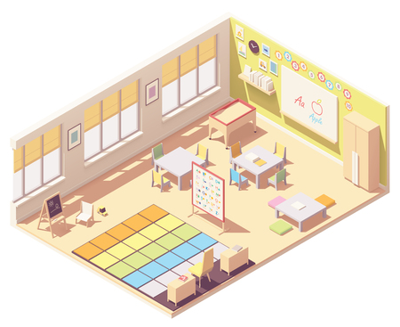 Vector isometric Kindergarten Preschool Classroom cross-section. Blackboard, furniture, alphabet chart, sand table, a place for everyone carpet