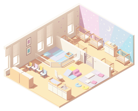 Vector isometric Kindergarten Preschool infant and toddler daycare classroom cross-section. Sleeping area with cribs, block play, carpet, baby changing station, other furniture