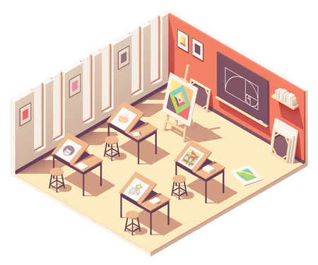 Vector isometric school art classroom interior cross-section. Folding drawing and painting desks, picture on wooden easel, blackboard with golden ratio, canvases for painting Ilustracja