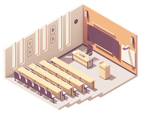 Vector isometric college or university lecture hall or theatre interior cross-section. Rows of seats, teachers table, blackboard, projector with screen, lectern or speech stand Illustration
