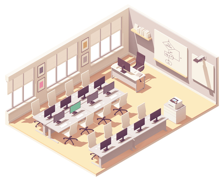 Vector isometric school computer lab or laboratory classroom interior cross-section. Desks with computers, chairs, chalkboard, projector with screen