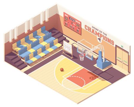 Coupe transversale intérieure de terrain de basket-ball de gymnase d'école, de collège ou d'université isométrique de vecteur. Rangées de sièges, but de basket-ball, tableau de bord Vecteurs