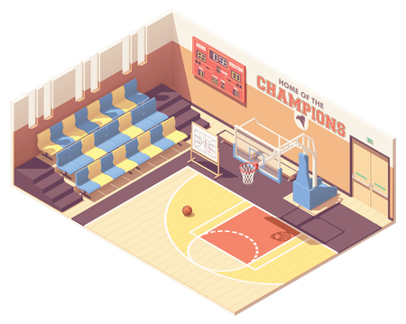 Vector isometric school, college or university gymnasium basketball court interior cross-section. Rows of seats, basketball goal, scoreboard Ilustração