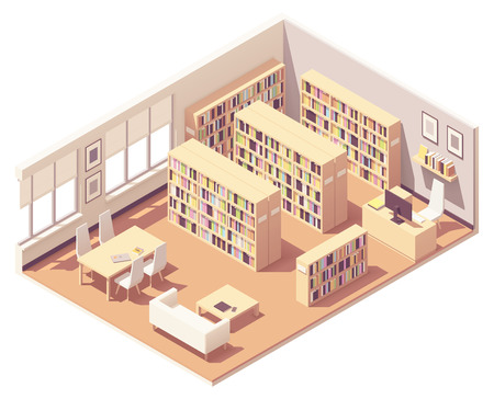 Vector isometric school, college or university library interior cross-section. Bookshelves with piles of books, sofa, desk and chairs for readers, librarian workplace 向量圖像