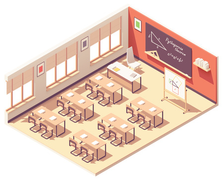 Vector isometric school mathematics classroom interior cross-section. School desks, chairs, blackboard