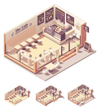 Isometric coffee shop or coffeehouse