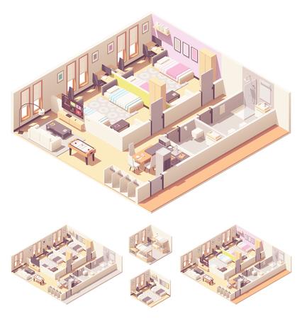 Dormitorio o dormitorio isometrico vettoriale