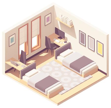 Vector isométrico dormitorio o dormitorio Ilustración de vector