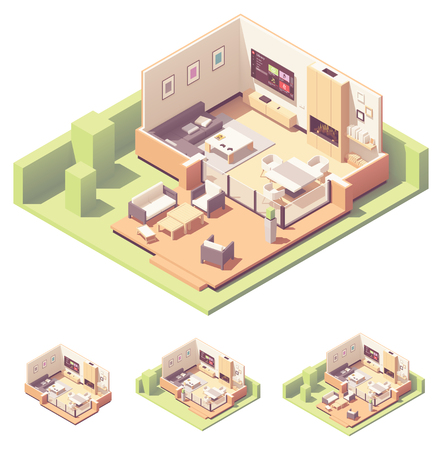 Vector isometric garden summer house