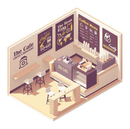 Wektor izometryczny mała kawiarnia Ilustracje wektorowe