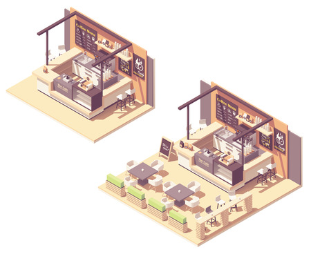 Isometric food court coffee kiosk