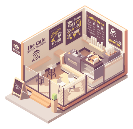 Vector isometric small coffeehouse