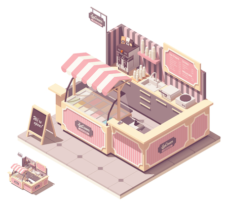 Vector isometric ice cream kiosk cross-section. Retro styled cafe interior with ice cream refrigerator, counter, cash register, credit card terminal, coffee machine and blackboard menu