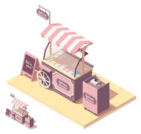 Vector isometric ice cream kiosk or cart stand. Retro design with wooden wheel, pink awning, ice cream refrigerator, cash register, credit card payment terminal Illusztráció