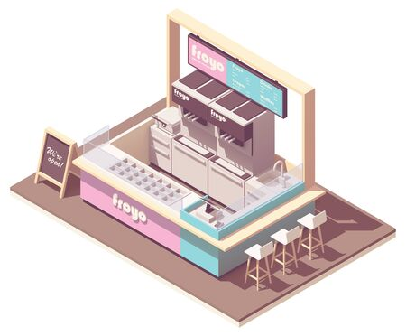 Vector isometric frozen yogurt kiosk cross-section. Retro styled cafe interior with ice cream refrigerator, counter, cash register, credit card terminal, coffee machine and blackboard menu Ilustração