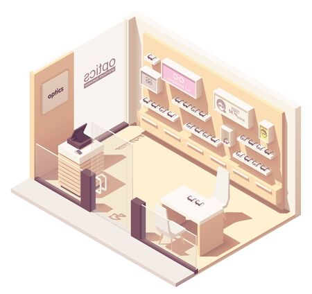 Vector isometric eyewear or optical shop interior. Eyeglasses and sunglasses on display, counter with cash register Illustration