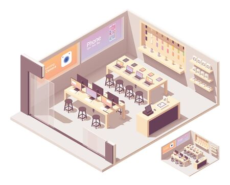 Vector isometric electronics store interior. Smartphones, computers, laptops, tablets, other gadgets and accessories on the shelves Illusztráció
