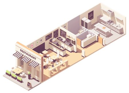 Vector isometric restaurant interior cross-section