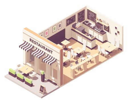 Vector isometric restaurant interior cross-section