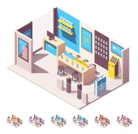 Vector isometric mobile phone network operator store. Wireless provider or carrier sales point. Smartphones, tablets, , laptops, tablets, other gadgets and accessories on the shelves, payment kiosk