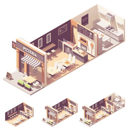 Vector isometric pizzeria interior cross-section Illustration
