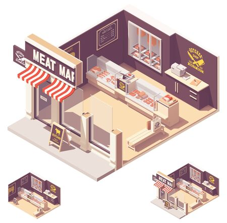 Vector isometric butcher shop interior Standard-Bild - 127789238