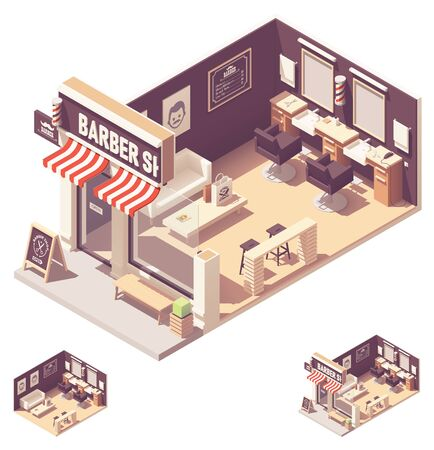 Vector isometric barbershop interior