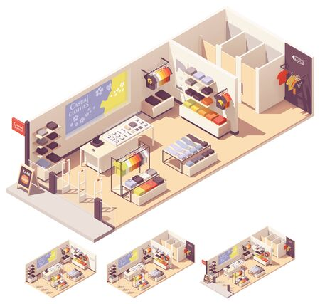 Vector isometric clothing store interior Illustration