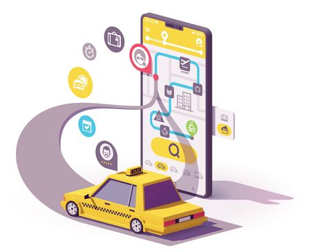 Vector taxi mobile app illustration Çizim