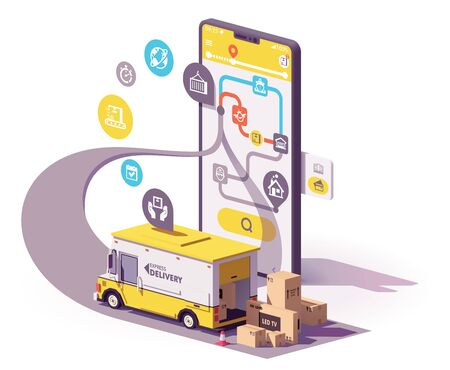 Vector parcel and mail delivery service and tracking app illustration, Smartphone with yellow delivery truck, map of the parcel route on the screen Illusztráció