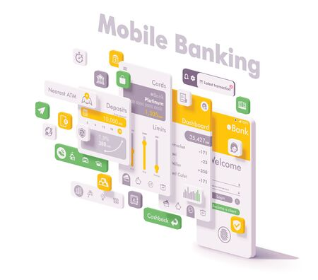 Vector mobile internet banking app illustration. Smartphone with bank application login page, account dashboard, bank card management, payments, deposits, notification and other features Illusztráció
