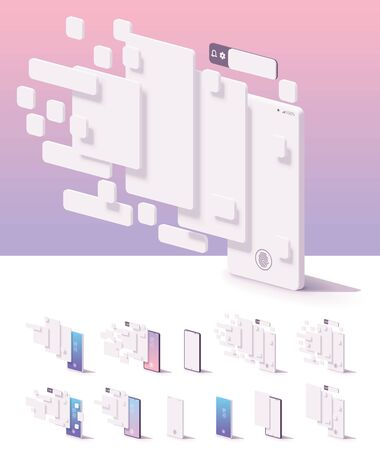 Vector mobile app user interface template. Smartphone with blank white wireframing screens, buttons, pages mockups to show application features and design Archivio Fotografico - 128488405