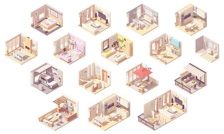 Chambres d'accueil isométriques de vecteur