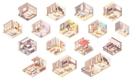 Vector isometric home rooms Standard-Bild - 127789246