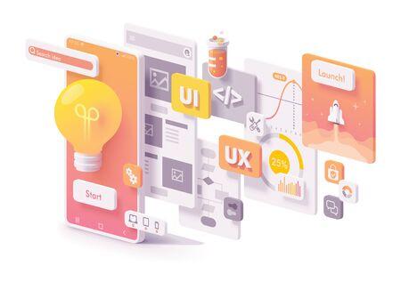 Concepto de desarrollo de aplicaciones móviles de vector