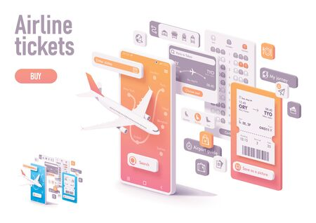 Vector booking airline tickets app template