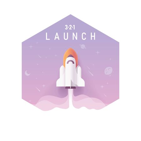 Vector business startup, new project concept. Space rocket or spaceship launching into space with stars and planets, hexagon shaped illustration Illusztráció