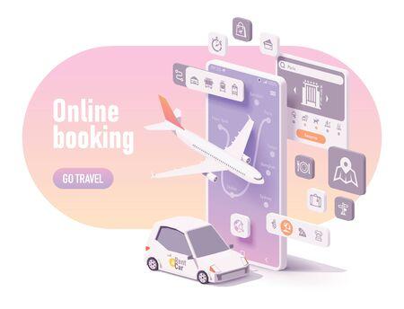 Vektor-Online-Reiseplanungsillustration, Hotelbuchung oder Kauf von Flugtickets, Mietwagenreservierung, Reiseplaner-App-Konzept. Smartphone, Flugzeug, Mietwagen