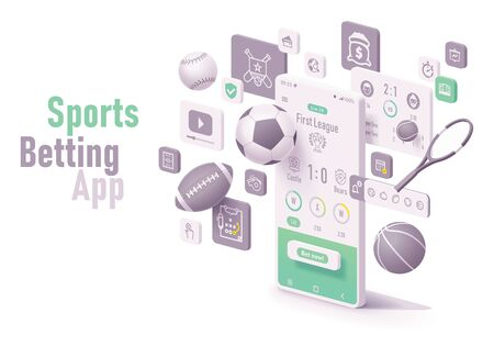 Vector online sports betting app concept. Smartphone with roulette, casino chips or tokens, blackjack playing cards, dices and neon sign Illustration