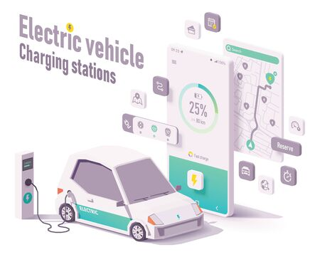Vector electric vehicle charging stations app concept. Smartphone with car charging details, electric car charger stations map search, EV and charging station