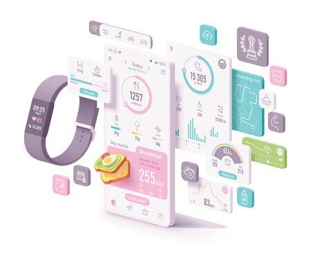 Vektor-Fitness- und Diät-App-Konzept. Fitness-Tracker und Smartphone mit Anwendungsbildschirmen zur Aufzeichnung von körperlicher Aktivität, sportlichen Aktivitäten, Kalorienrechner und Ernährungstagebuch, Herzfrequenz, Schrittzähler, Gewichtskontrolle Vektorgrafik