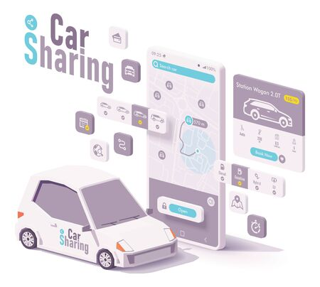 Vector car sharing, hire or car rental app concept. Smartphone with map and navigation to closest car, car selection menu, booking and payment